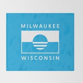 Milwaukee Wisconsin - Cyan - People's Flag of Milwaukee Throw Blanket