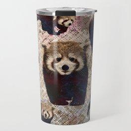 Red Panda Abstract  mixed media digital art collage Travel Mug