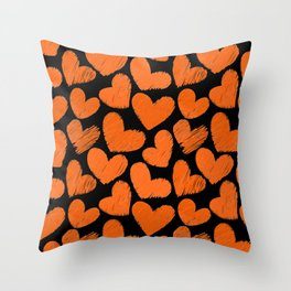 Sketchy hearts in orange and black Throw Pillow