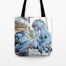 Paris Carousel Merry Go Round Horses - Baby Boy Blue Nursery Decor Tote Bag
