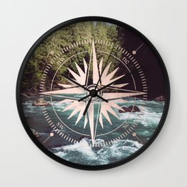 Rose Gold River Compass Wall Clock