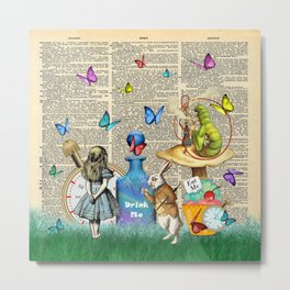 Alice In Wonderland Dictionary Page Celebration Metal Print