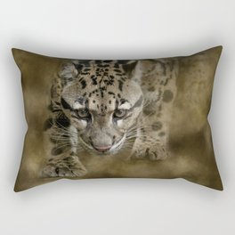 Clouded Leopard On The Hunt Rectangular Pillow