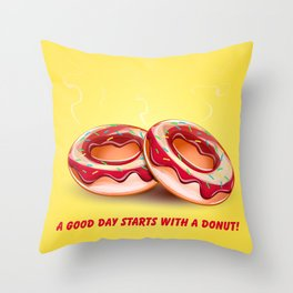 Two hot donuts Throw Pillow