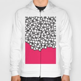 Hand Drawn Black and White Flowers on Hot Pink Hoody