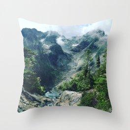 Mountain through the clouds Throw Pillow