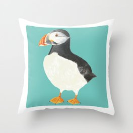 Paula Puffin (Blue) Throw Pillow