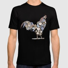Chicken Alarm LARGE Black Mens Fitted Tee