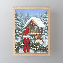 Red Cardinals and Christmas Bird Feeder Framed Mini Art Print