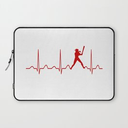 SOFTBALL WOMAN HEARTBEAT Laptop Sleeve