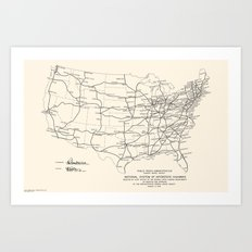 1947 Interstate Highway Map: Digital Recreation Art Print