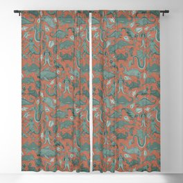 Deep Sea Cryptids on Red Blackout Curtain