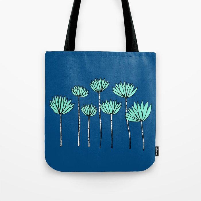 Blue and Teal Tropical Botanical Print by Emma Freeman Designs Tote Bag