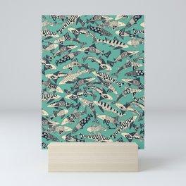 shark party jade Mini Art Print