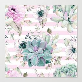 Simply Succulent Garden on Desert Rose Pink Striped Canvas Print