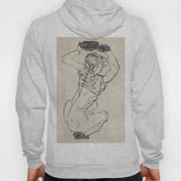 Squatting Woman, Naked lady female line art by Egon Schiele. Hoody