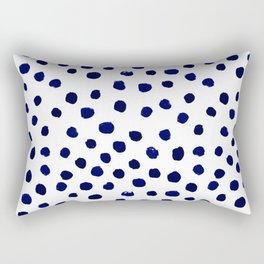 Mini dots painterly brushstrokes boho modern indigo blue and white preppy nautical dorm college art Rectangular Pillow