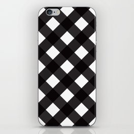 Contemporary Black & White Tilt Gingham Pattern - Mix & Match With Simplicty Of Life iPhone Skin