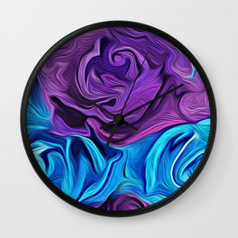 Turquoise and Violet Rose Wall Clock