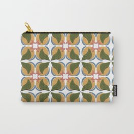 Muted Leafy with Pink Flowers  Carry-All Pouch