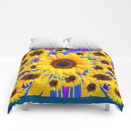 FUCHSIA TEAL COLOR & SUNFLOWERS  MODERN ART Comforters