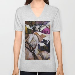 Bach Chord - Winter in a Small Town landscape painting William Sommer Unisex V-Neck