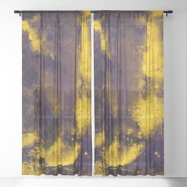 psychedelic color gradient pattern splatter watercolor yellow Sheer Curtain