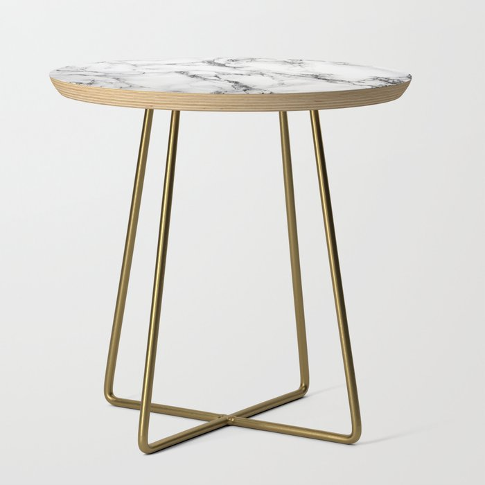 white marble texture side table by artonwear society6. Black Bedroom Furniture Sets. Home Design Ideas