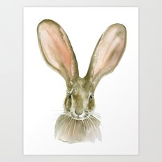 Jack Rabbit Watercolor Art Print