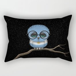 Baby Owl with Glasses and Argentine Flag Rectangular Pillow