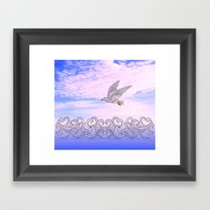 seagull above the waves Framed Art Print