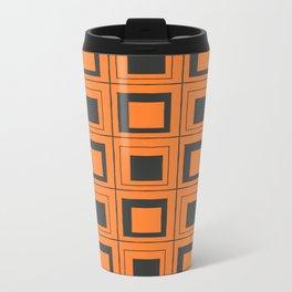 Orange Squares Metal Travel Mug
