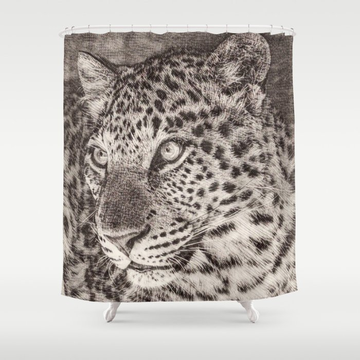 Sketchy Leopard Shower Curtain