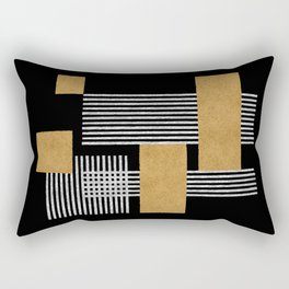 Stripes and Squares on Black Composition - Abstract Rectangular Pillow