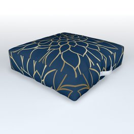 Floral Prints, Line Art, Navy Blue and Gold Outdoor Floor Cushion
