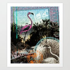 Palm trees and flamingos Art Print