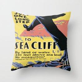 Vintage poster - Sea Cliff Throw Pillow
