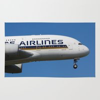 singapore Area & Throw Rugs featuring Singapore Airlines Airbus A380 by David Pyatt