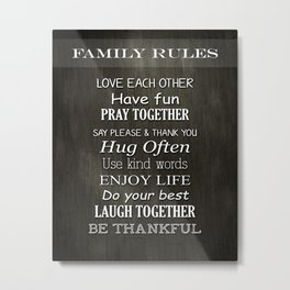 Family Rules Metal Print