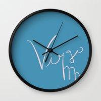 virgo Wall Clocks featuring Virgo by LindsayMichelle
