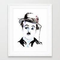 charlie chaplin Framed Art Prints featuring Charlie Chaplin by Anastasia Efthias