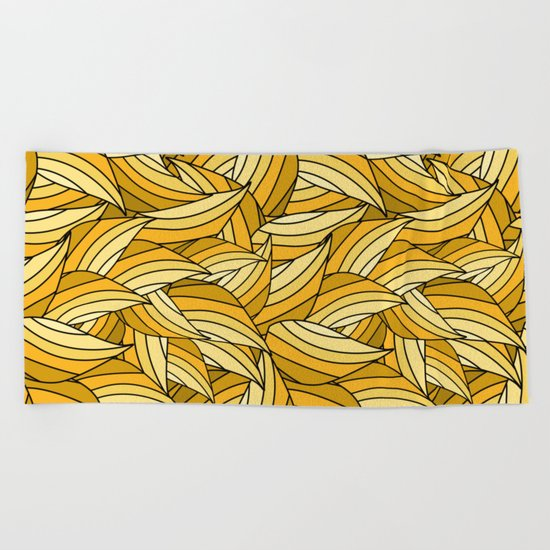 PRIMROSE YELLOW LEAVES B (abstract flowers nature) Beach Towel
