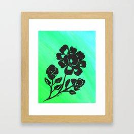 Green Silhouette Roses Varigated Background Acrylic Art Framed Art Print