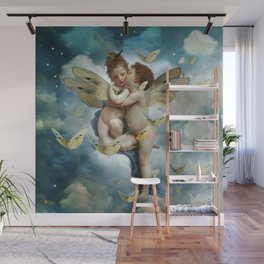 """""""Angels in love in heaven with butterflies"""" Wall Mural"""