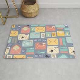Retro styled pattern with letters and postcards Rug