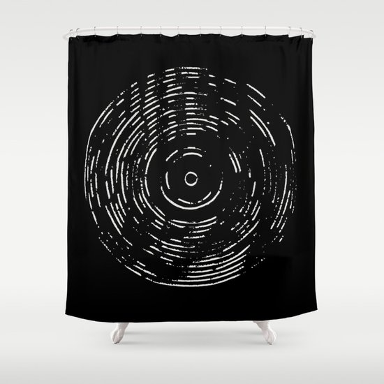 Record White on Black Shower Curtain