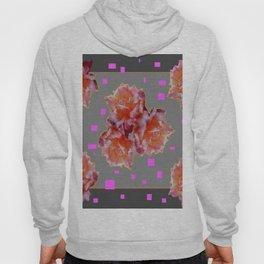 Grey & Violet Design & Old Rose flowers Pattern Art Hoody