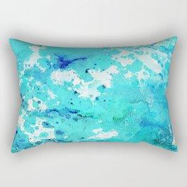 Abstract modern teal blue watercolor paint pattern Rectangular Pillow