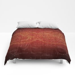 Antique Navigation World Map in Red and Gold Comforters