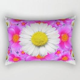 Colorful Fuchsia Rose Bouquet Garden Shasta Daisies Rectangular Pillow